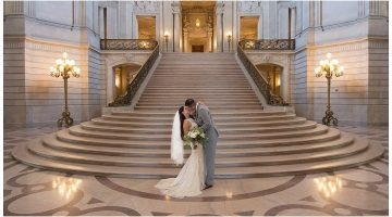 Amazing San Francisco City Hall Wedding, Picture taken on the Grand Staircase, City Hall Wedding Photography by Michael