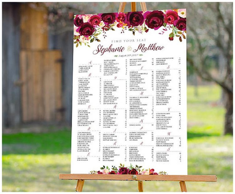 San Francisco wedding seating assignment